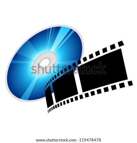 disc and film, vector - stock vector