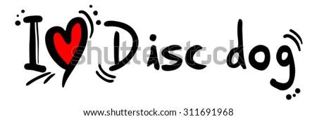 Disc dog love - stock vector
