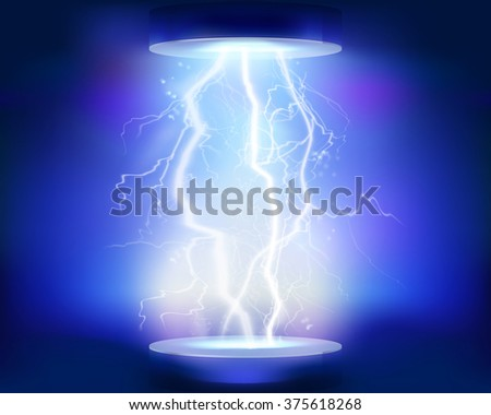 Discharge of electricity. Vector illustration. - stock vector