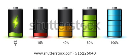 Discharged and fully charged battery smartphone - vector infographic. Isolated on white background