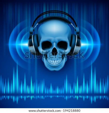 Disco background with skull in headphones, equalizer in blue shades - stock vector