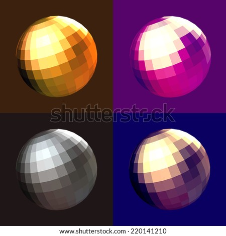 Disco ball 4 color style,Vector object decoration - stock vector