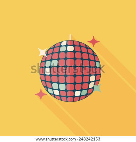 Disco ball flat icon with long shadow,eps10