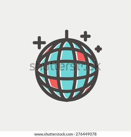 Disco ball icon thin line for web and mobile, modern minimalistic flat design. Vector icon with dark grey outline and offset colour on light grey background. - stock vector