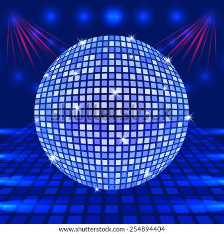 Disco ball in blue tones on a background with rays of light vector