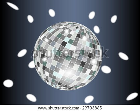 Disco ball in dark with reflections