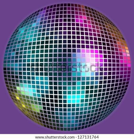 Disco ball on dark background - stock vector