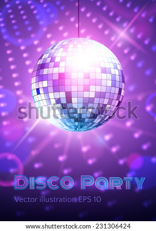 Disco ball on disco lights background. Vector illustration. - stock vector