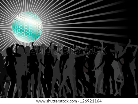 Disco Ball Over A Dance Party Crowd - stock vector
