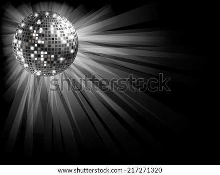 Disco ball silver on a black background with rays of light . - stock vector