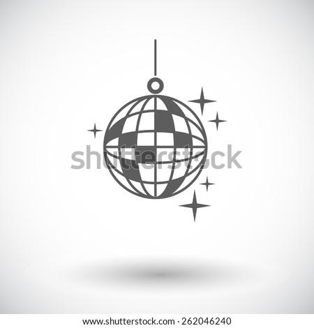 Disco ball. Single flat icon on white background. Vector illustration. - stock vector