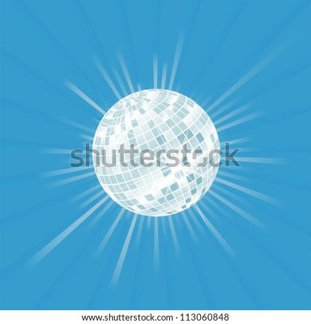 Disco ball vector background with burst light - stock vector