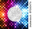 Disco ball vector neon background - stock vector