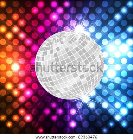 Disco ball vector neon background - stock vector