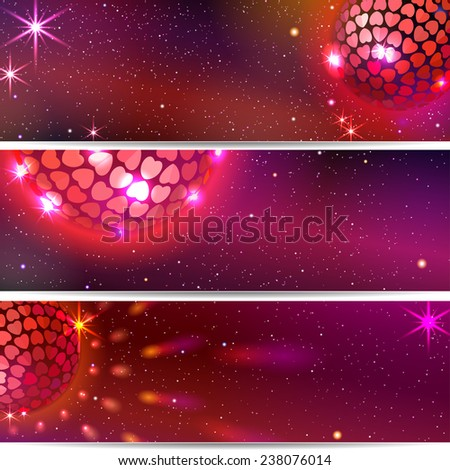 Disco Ball with Hearts. Three vector backgrounds. EPS 10. Masks are used, so you can move the ball and lights.  Smartly grouped and layered. - stock vector