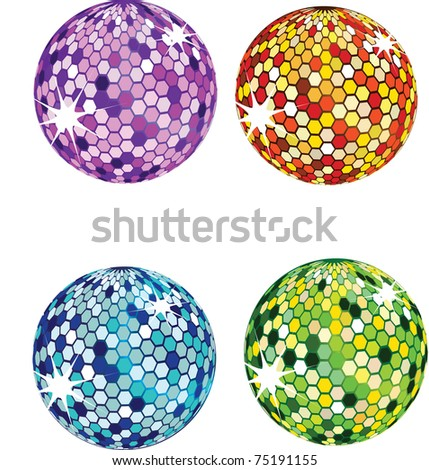 disco balls - stock vector