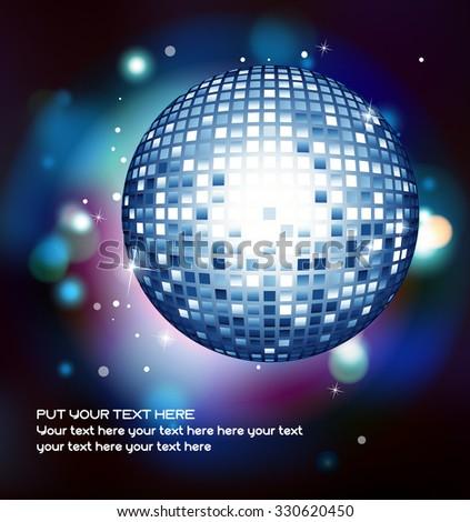 Disco banner with a shiny disco ball - stock vector