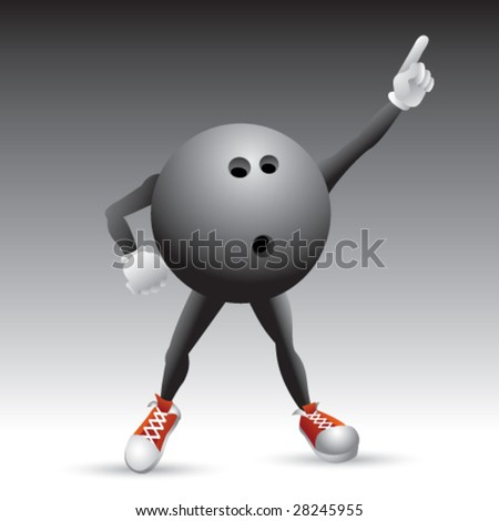 disco bowling ball man isolated - stock vector
