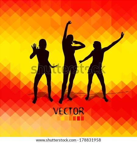 Disco dancing girls red yellow background. Vector - stock vector