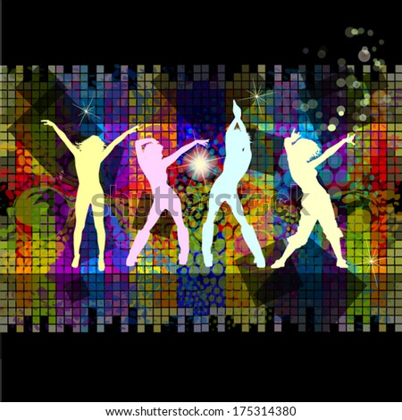 Disco dancing girls squares background. Vector - stock vector