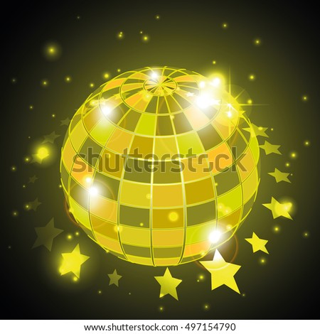 Disco globe with stars in yellow background, vector