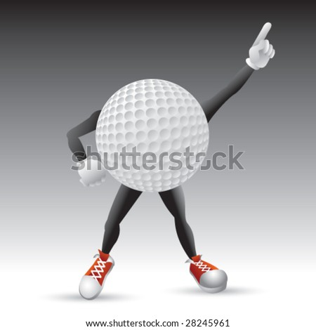 disco golf ball man isolated - stock vector