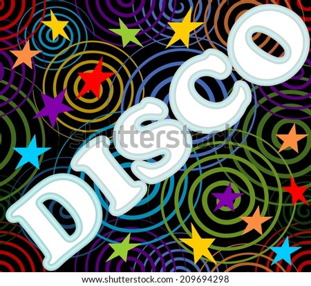 Disco label on the black background with multicolored spiral and stars - stock vector