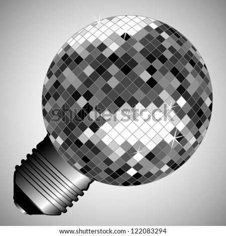 disco light bulb, abstract electric lamp; vector art illustration - stock vector