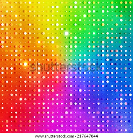 Disco lights on rainbow background. Vector illustration with watercolor texture. - stock vector