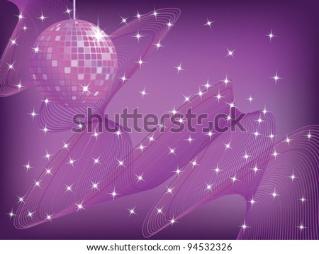 disco mirror ball over abstract waved background vector illustration