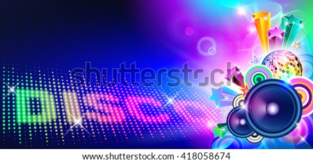 Disco Music Flyer With Lights And Speakers  - stock vector