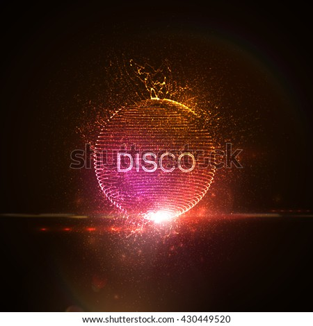 Disco neon sign. 3D illuminated distorted sphere of glowing particles, wireframe, splashes and lens flare light effect. Music party. Vector illustration. Disco ball. - stock vector