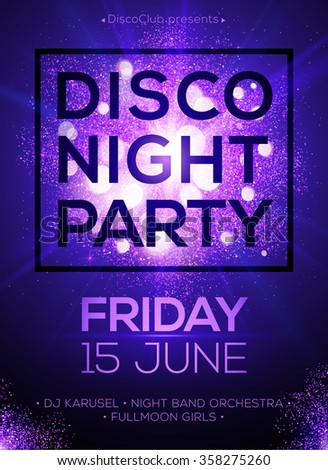 Disco night party vector poster template with shining violet spotlights background - stock vector