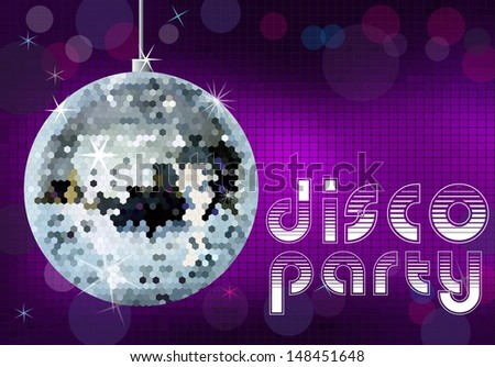 Disco party background. Disco ball vector illustration.