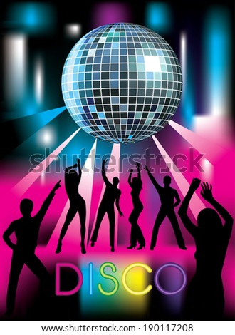 Disco party. Dancing people. Vector illustration - stock vector