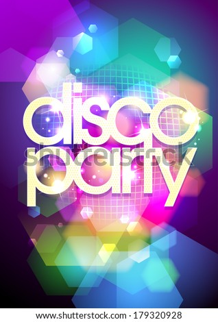 Disco party design on a bokeh background. Eps10. - stock vector
