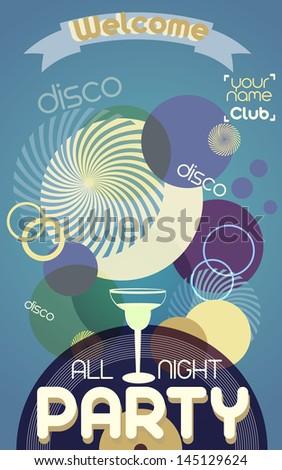 Disco party poster - stock vector