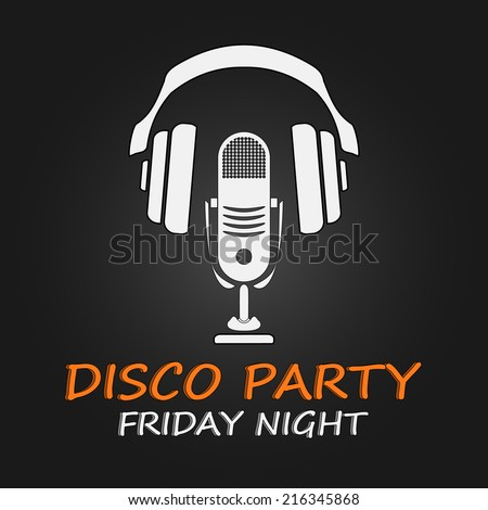 Disco party poster. Vector illustration. EPS 10 - stock vector