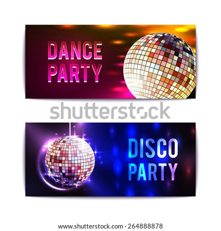 Disco party with glass ball spheres banners horizontal set isolated vector illustration - stock vector