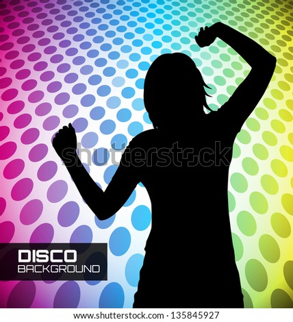 Disco poster with dancer silhouette