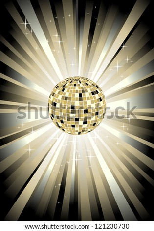 Disco sphere in gold color - vector illustration - stock vector