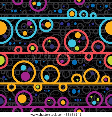 Disco style seamless pattern, vector background. - stock vector