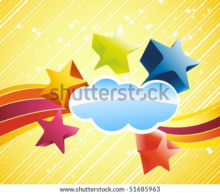 Discotheque colorful banner with stars. Vector illustration
