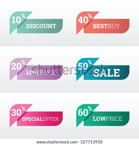 Discount and price tags for web or print, with modern color - stock vector