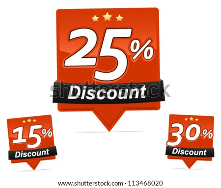 Discount Badges - shiny discount  badges vector for web-shop, flyer, brochure and print design. - stock vector