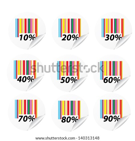 Discount colorful labels sale 10 - 90 percent. Vector. - stock vector