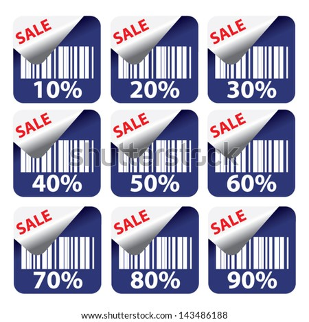 Discount dark blue labels and stickers sale 10 - 90 percent. Vector. - stock vector