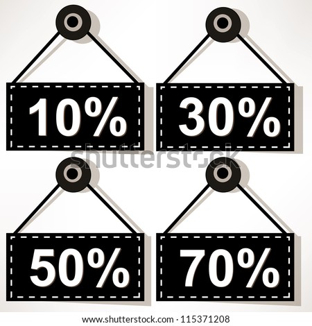 Discount icons set isolated on white background. - stock vector