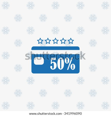 Discount label. icon. vector design snowflakes on a white background - stock vector
