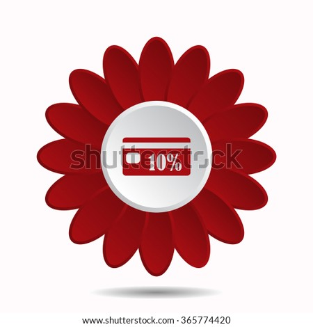Discount label icon, vector illustration. Flat design style, flower icon - stock vector